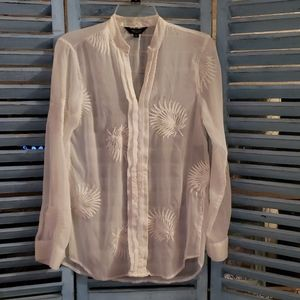 White embroidered button blouse